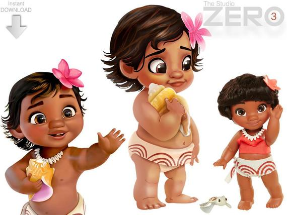 3 Disney Moana Baby Digital Clipart N Mirror Images of 300DPI PNG for  Instant Download.
