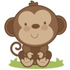 Cute baby monkey clip art.