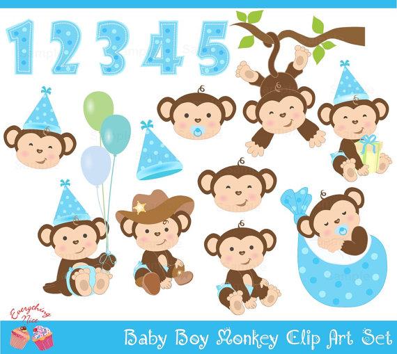Boy baby monkey clipart.