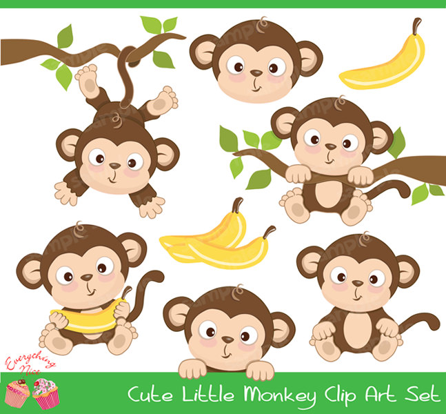 Cute baby monkey clip art.