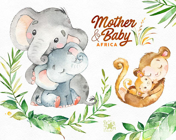 Mother & Baby. Africa. Watercolor animals clipart, elephant.