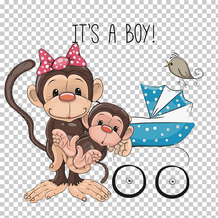 Monkey Infant , Cute monkey mother PNG clipart.