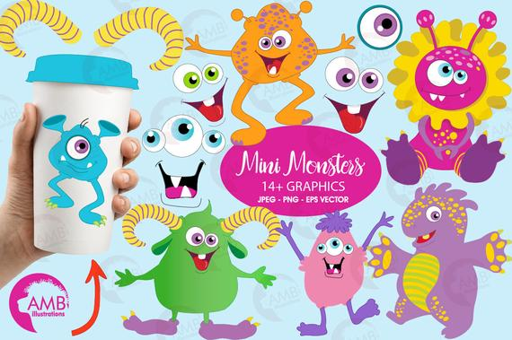 Monster clipart, Little Baby Monsters Clipart, Scrapbooking Clipart.