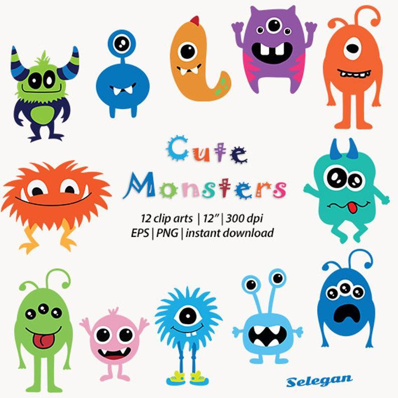 Cute monster, monster Clipart, baby monster, friendly monster, birthday  party, clip art, commercial, vector, eps, transparent, png, download.