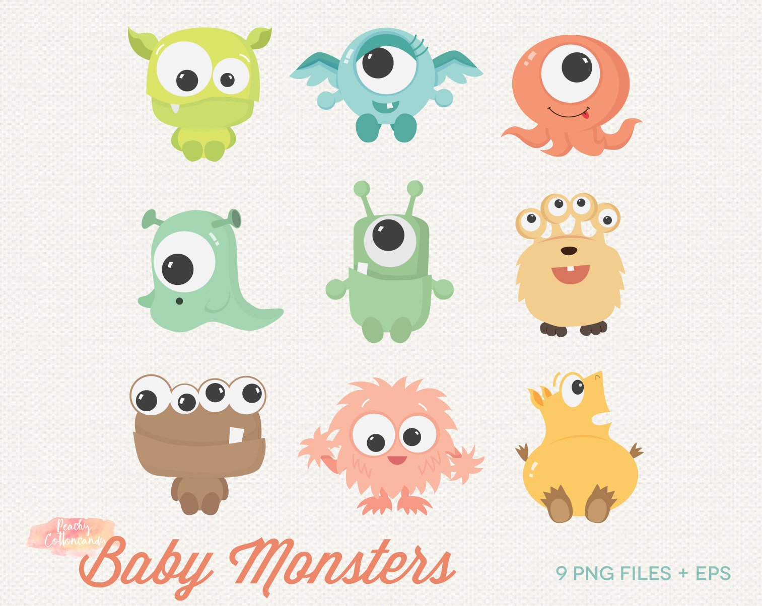 BUY 2 GET 1 FREE Cute Baby Monster Clipart.