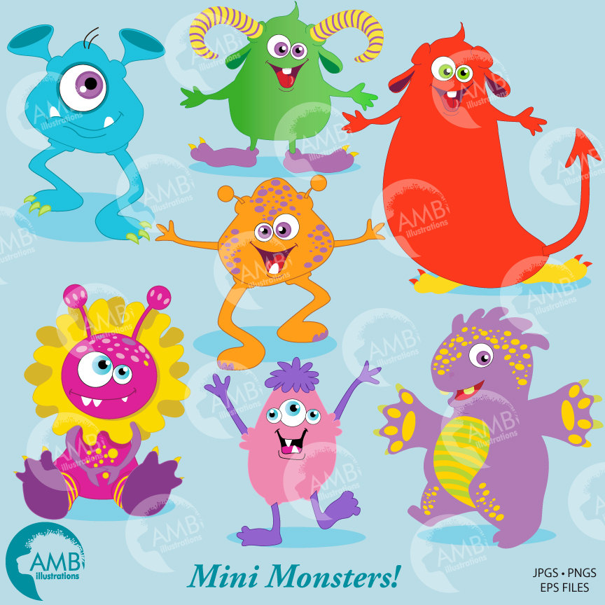 Monster clipart, Little Baby Monsters Clipart, Scrapbooking Clipart for  Kids, AMB.
