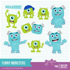 Cute Baby Monsters Clipart for Personal and Commercial Use ( cute.