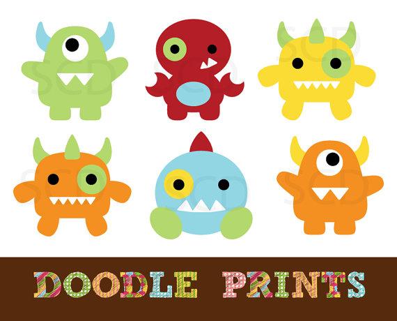 Monster Clipart, Digital Clip Art Printable, Monster Digital.