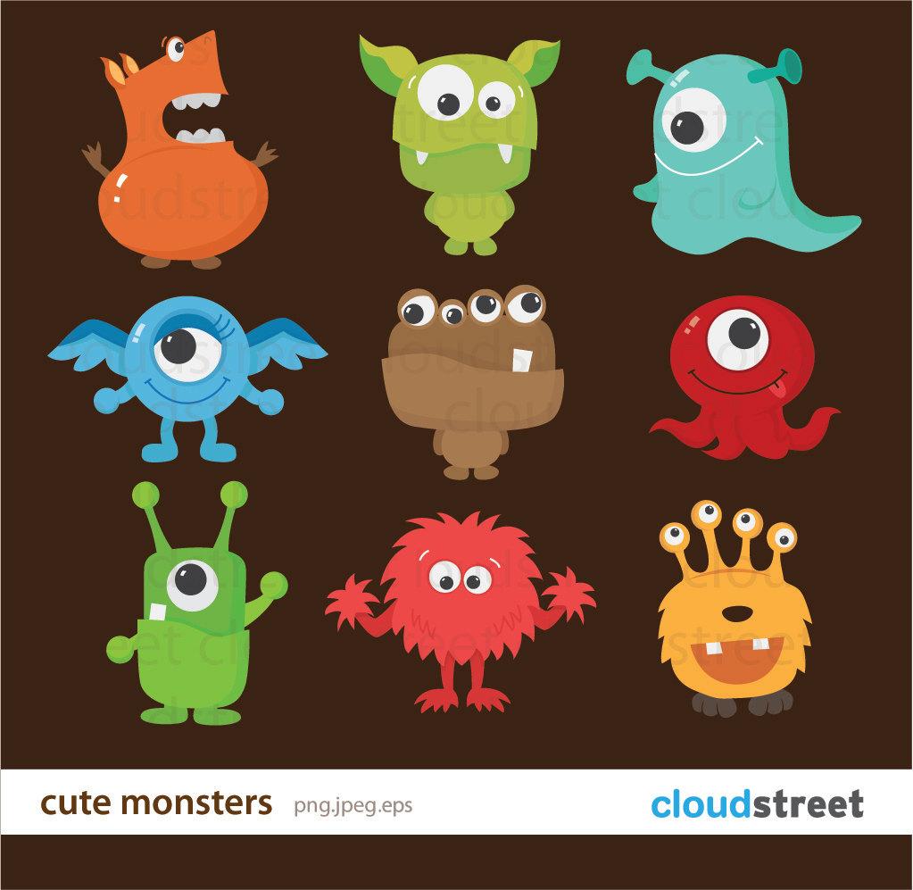 Cute monster clipart.