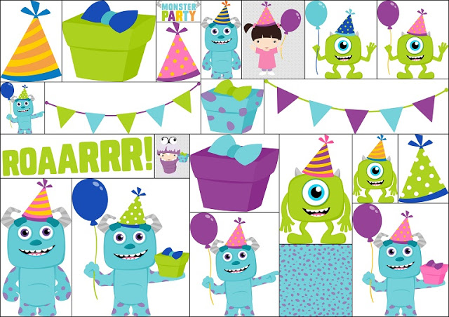 Baby Monsters Party Clipart..