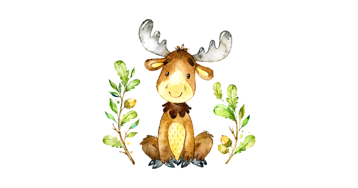 Cute baby moose watercolors illustration.
