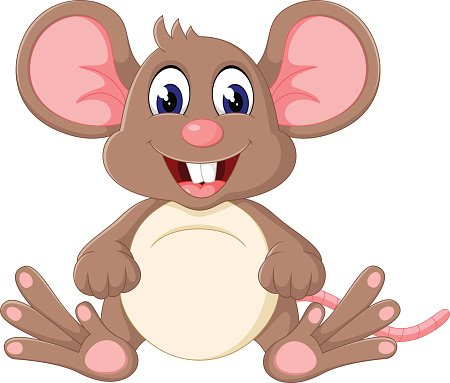 Cute baby mouse cartoon Clipart Image.