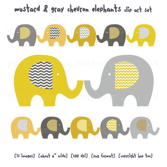 Elephant clip art, baby elephant clipart, chevron mustard yellow.