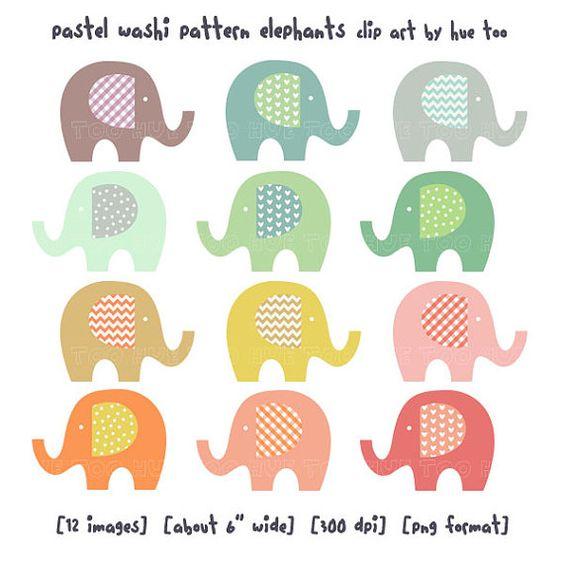 elephant clip art, baby elephant clipart, pastel washi tape.