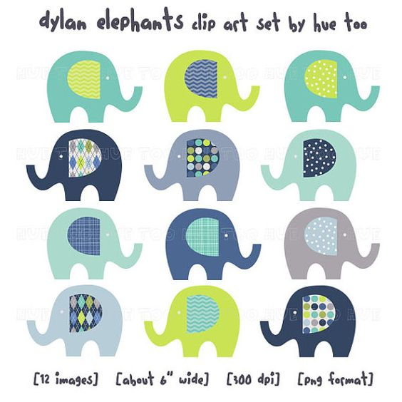 elephant clipart, clip art elephants, lime green navy baby blue.