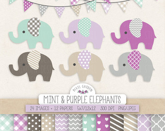 Cute Elephant Clipart. Baby Shower Clip Art by PixelGardenDesign.