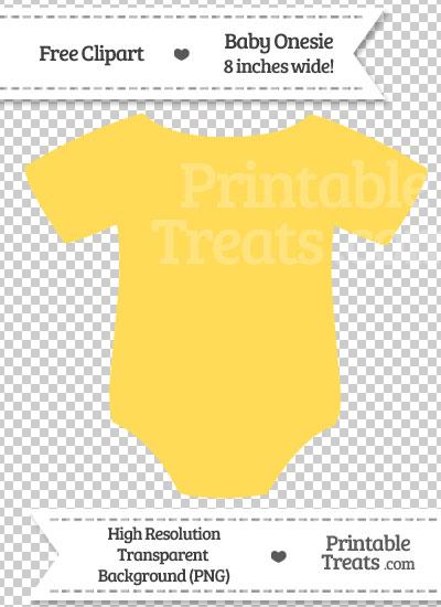 Mustard Yellow Baby Onesie Clipart — Printable Treats.com.