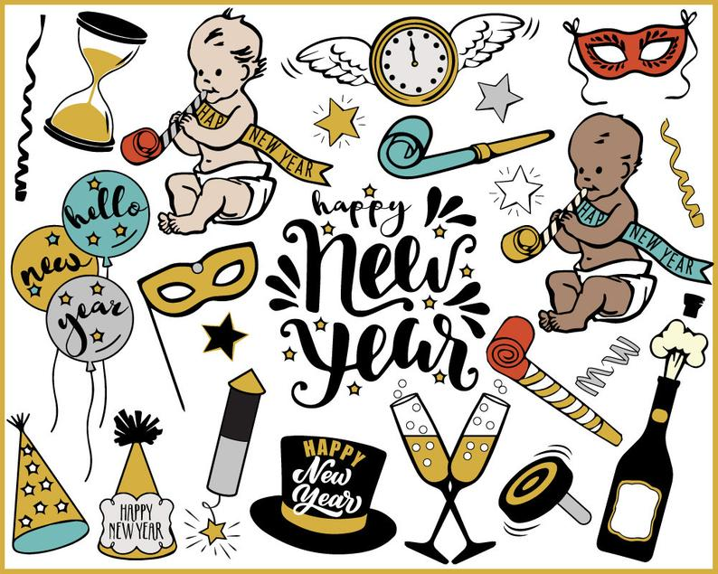 New Year Clipart, new year's eve, baby new year, champagne, new year  journal, printable stickers, instant download, gold and black.