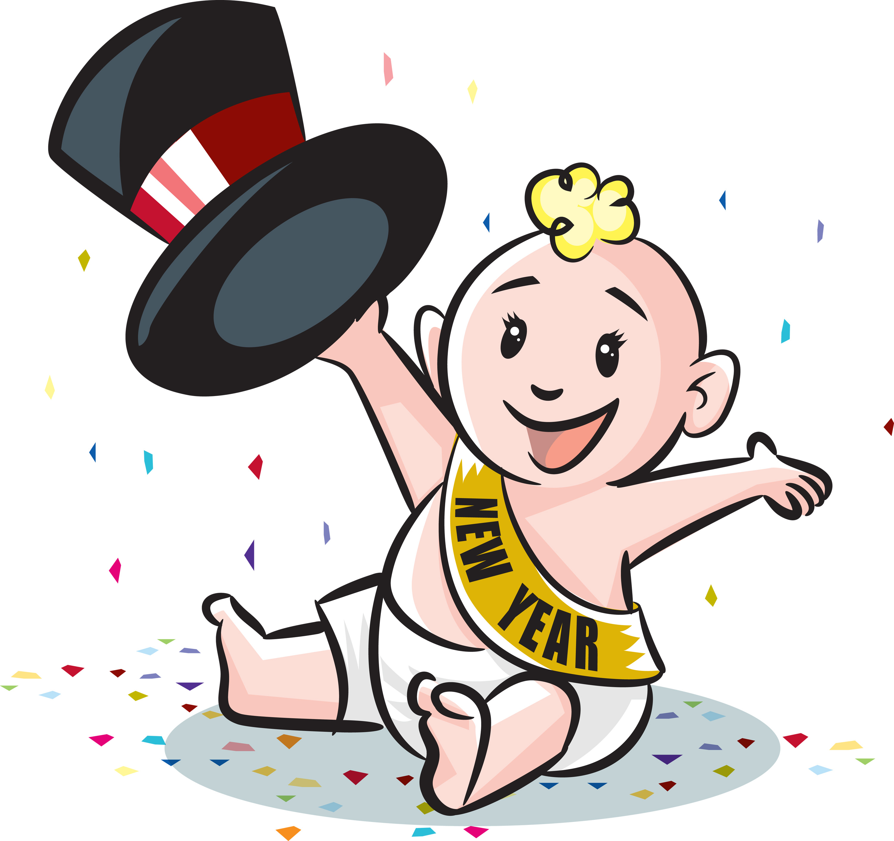 New Year\'s Baby Clipart.