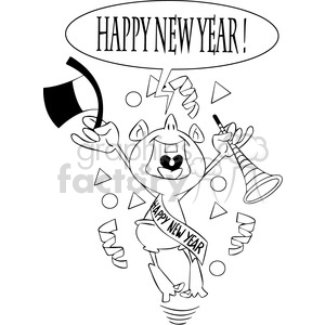 black and white happy new year baby new year vector art clipart.  Royalty.