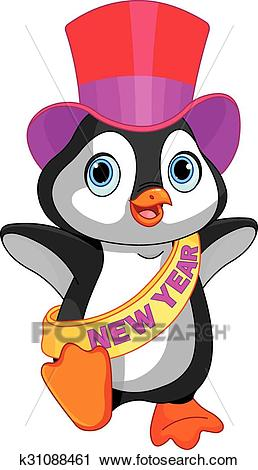 New Year baby penguin Clipart.