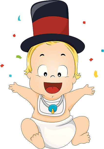 Best Baby New Year Illustrations, Royalty.
