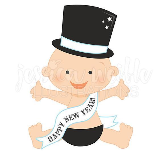 New Years Baby Clip Art, Cute Digital Clipart, Baby Clip art, Baby.