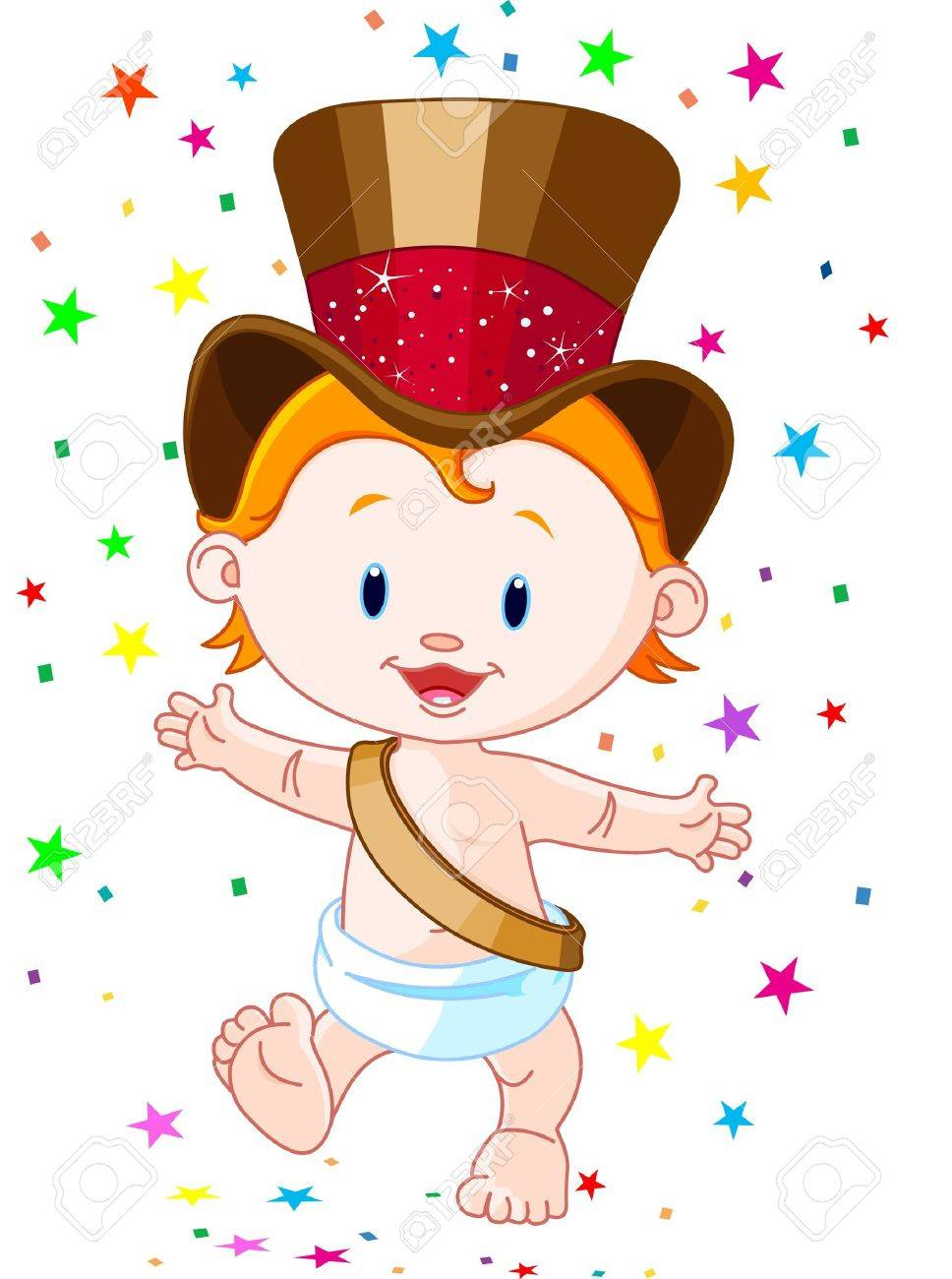 Cute baby New Year with top hat.