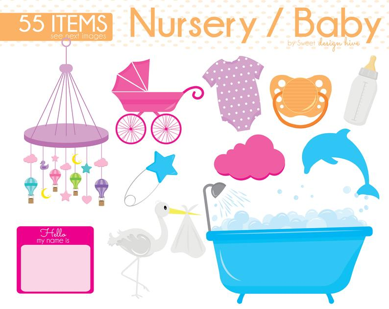 Baby Clipart, Baby Shower Clipart, Baby Nursery clipart, Baby Boy, Baby  girl, invitation, Baby Tees, Safety Pin, Stars, Baby Bottle, CS0004.