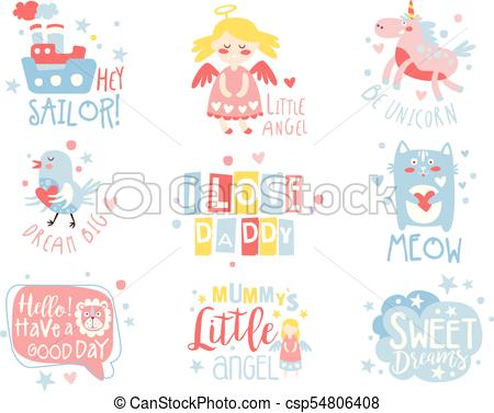 Baby Nursery Room Print Design Templates Set In Cute Girly Manner With Text  Messages.