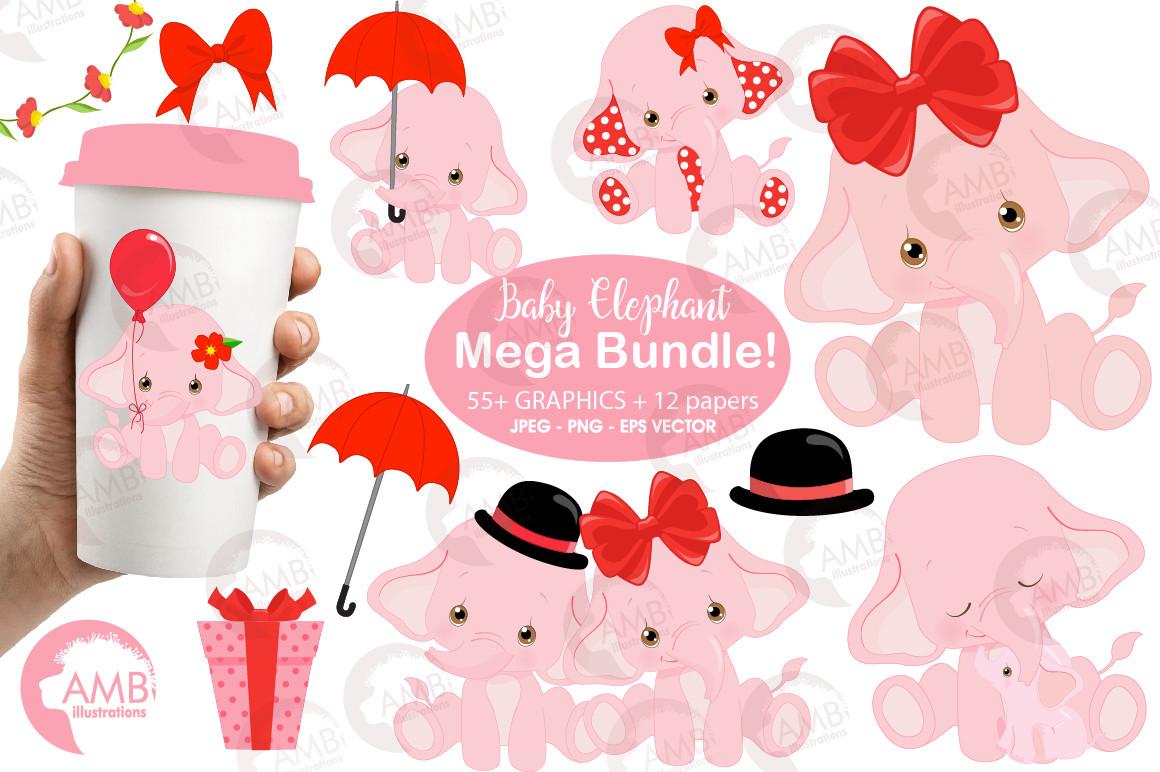 Elephant babies in pink! Mega Bundle, Elephant clipart, Nursery baby  clipart, Nursery clip art, Cutest elephant, AMB.