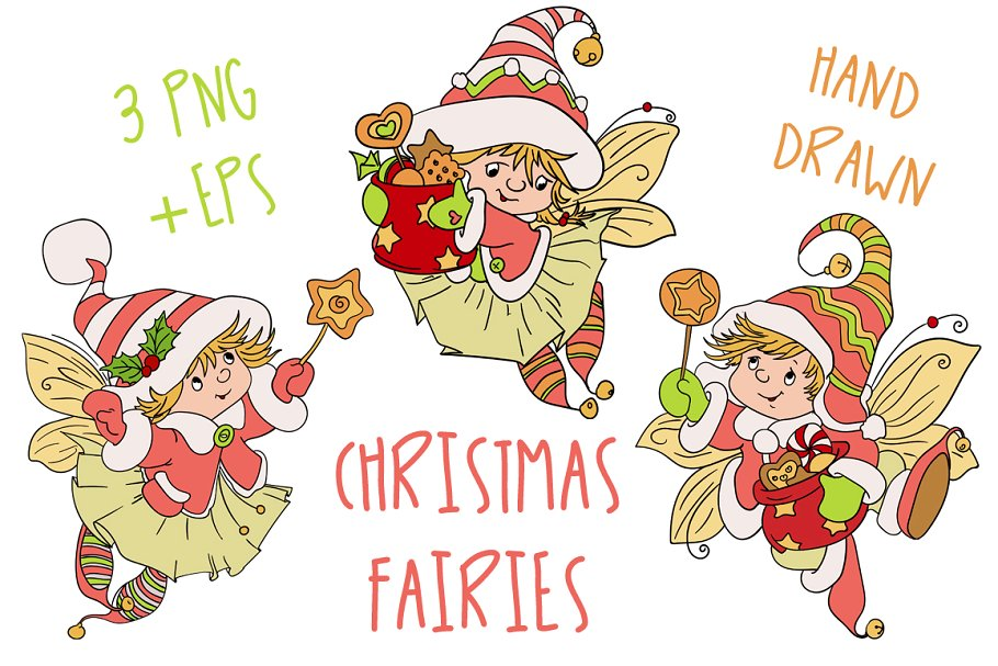 Christmas Fairy Baby Nursery Clipart.
