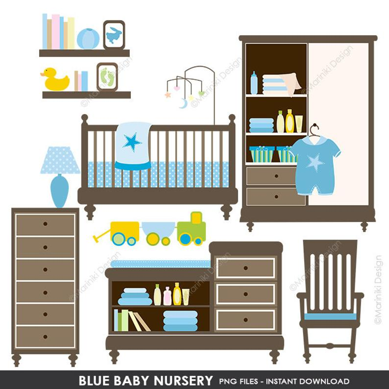 Baby Shower Clipart, Baby Nursery Clipart, Baby Clip Art, Blue Baby Shower,  Digital Clip Art INSTANT DOWNLOAD CLIPARTS C11.