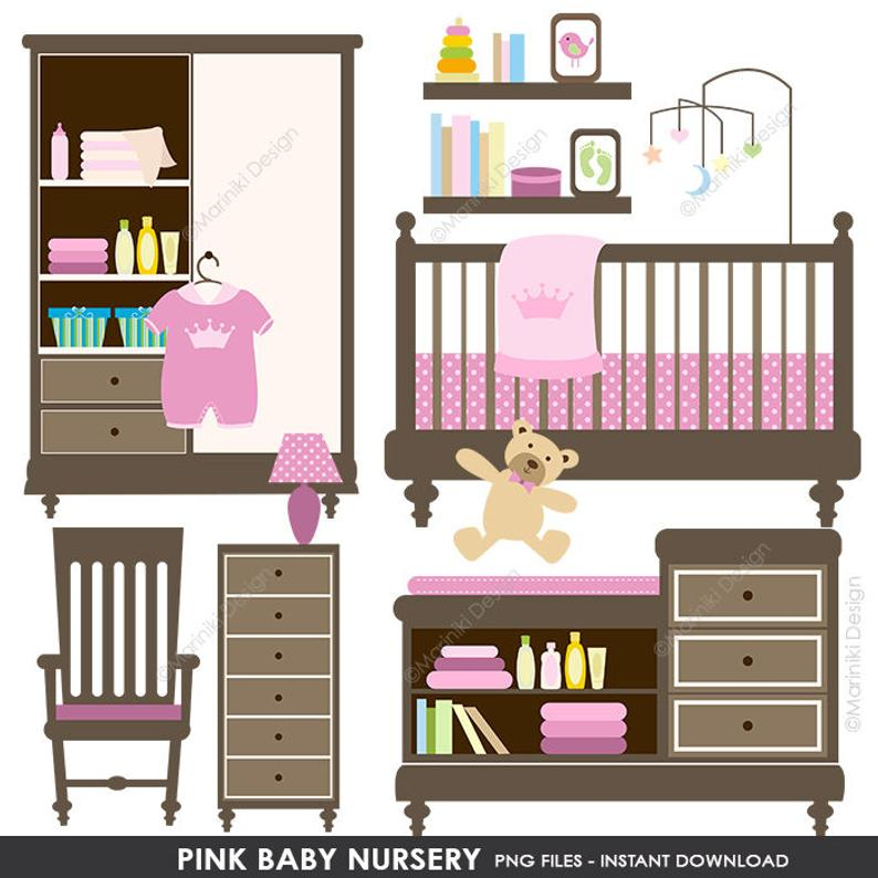Baby Clipart, Baby Shower Clipart, Baby Nursery Clip Art, Pink Baby Shower,  Clipart Digital Clip Art INSTANT DOWNLOAD CLIPARTS C12.