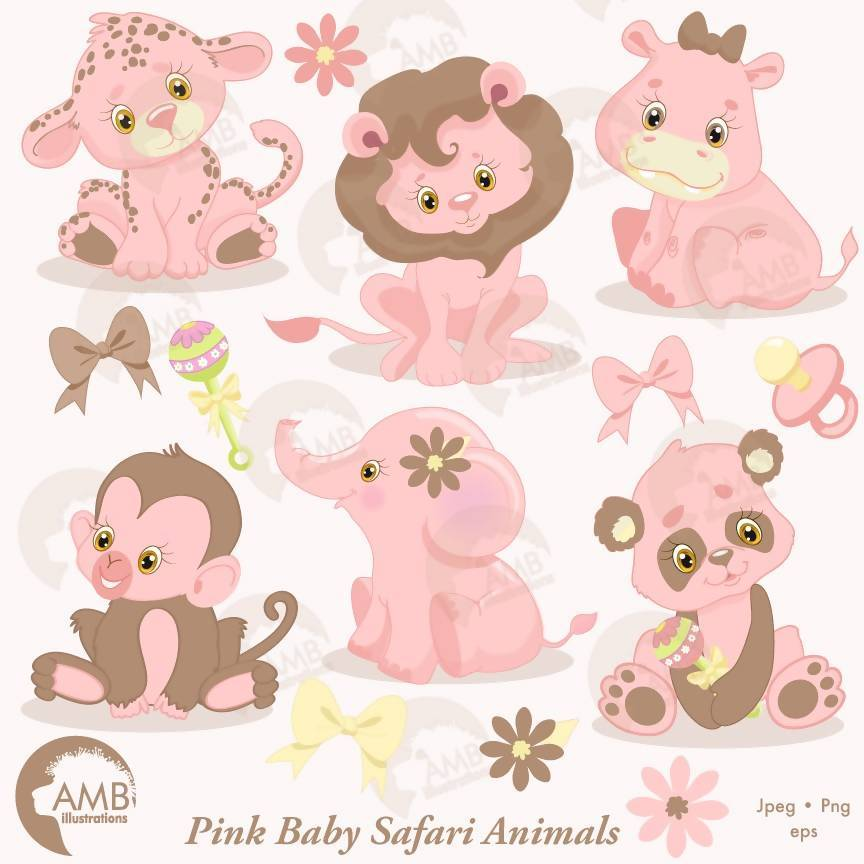 Jungle Animals Clipart, Jungle Animal Babies, Nursery Pink Baby Animals,  AMB.