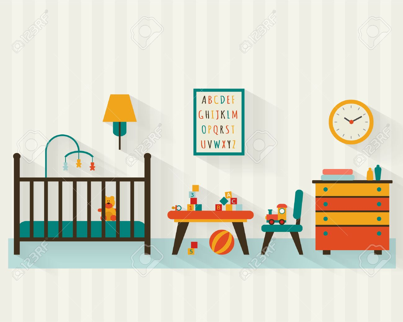 Baby room with furniture. Nursery interior. Flat style vector...