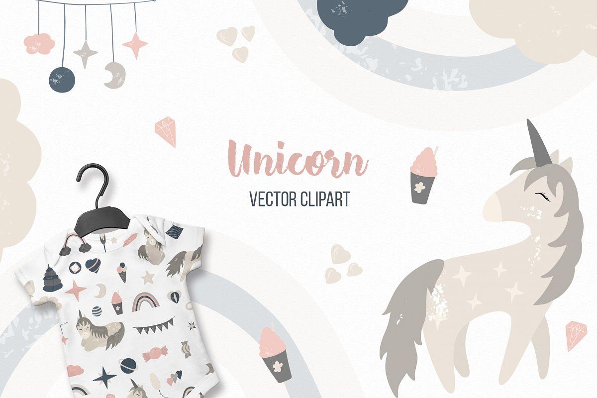 Unicorn Vector clipart Baby nursery, Baby shower, Big set.
