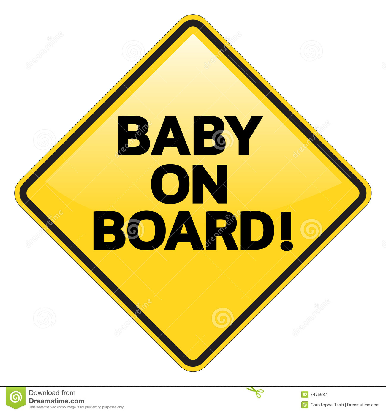 Baby On Board Warning Sign Royalty Free Stock Photography.