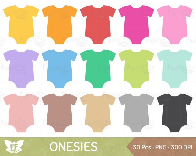 Baby Onesie Clipart, Onesies Clip Art, Baby Shower Cliparts, Clothes  Rompers Invitation Label PNG Graphic Download, Commercial Use.