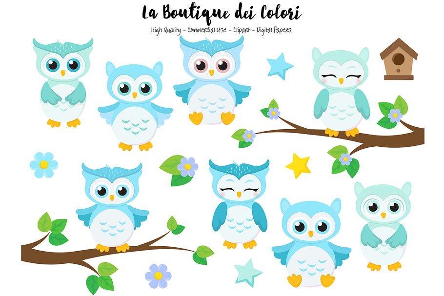 Cute Blue Baby Owls Clipart.
