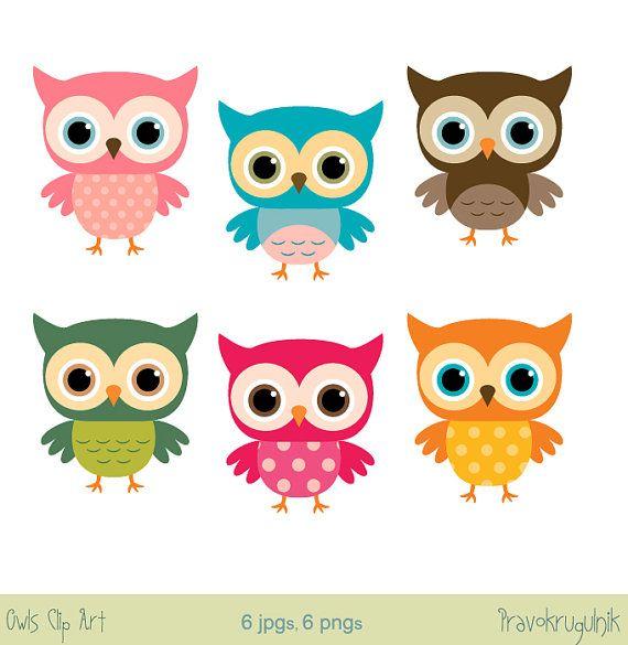 Baby owl clip art, Girl owl clipart, Rainbow owls on branches, Cute.
