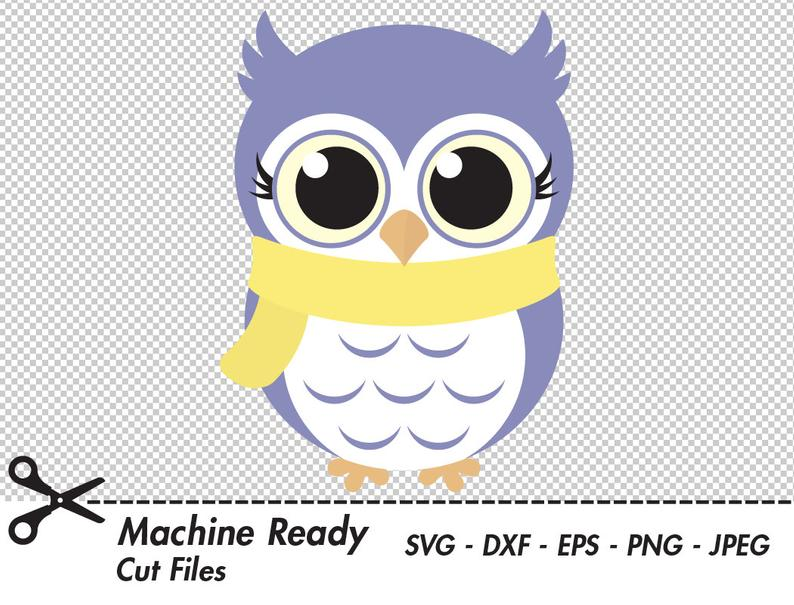 Cute Winter Owl SVG Cut Files, PNG owls clipart, baby owl art, fall clip  art, printable woodland animal vector graphic, girl owl design.