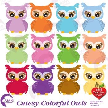 Owl Clipart, Multi.