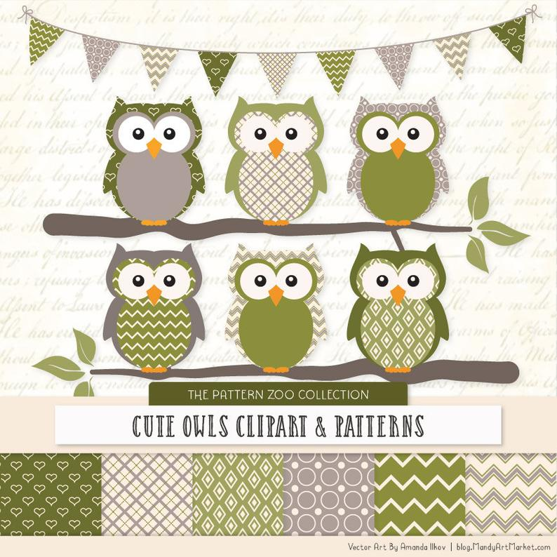 Patterned Avocado Owls Clipart and Digital Papers.