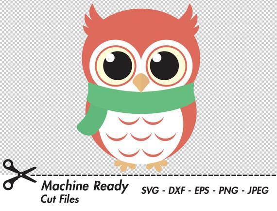 Cute Winter Owl SVG Cut Files, PNG owls clipart, baby owl art, fall clip  art, printable woodland animal vector graphic, boy owl design.