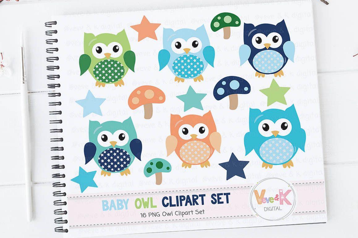 Owl Clipart, Cute Owls Clipart, Digital Owl Clipart, Baby Shower Clipart,  Baby boy Shower Clipart, Owl Digital Images, Boy Owls Clipart.