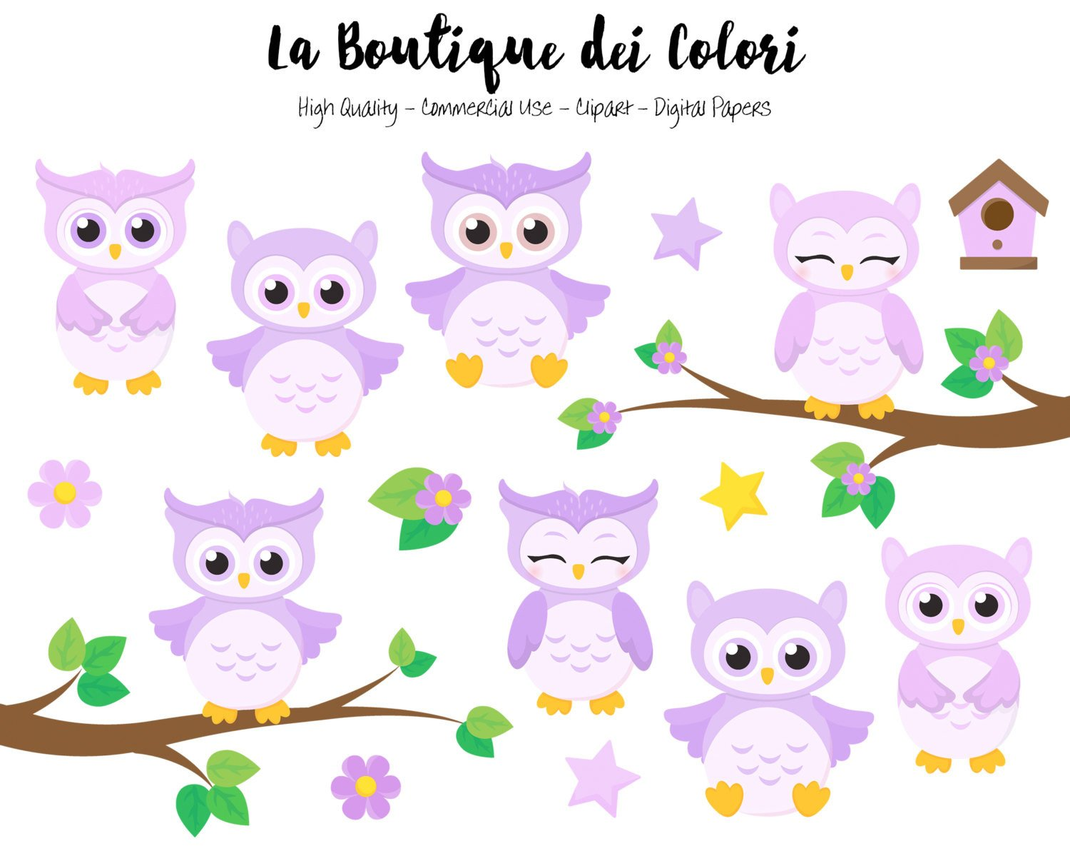 Purple Baby Owls Clipart.