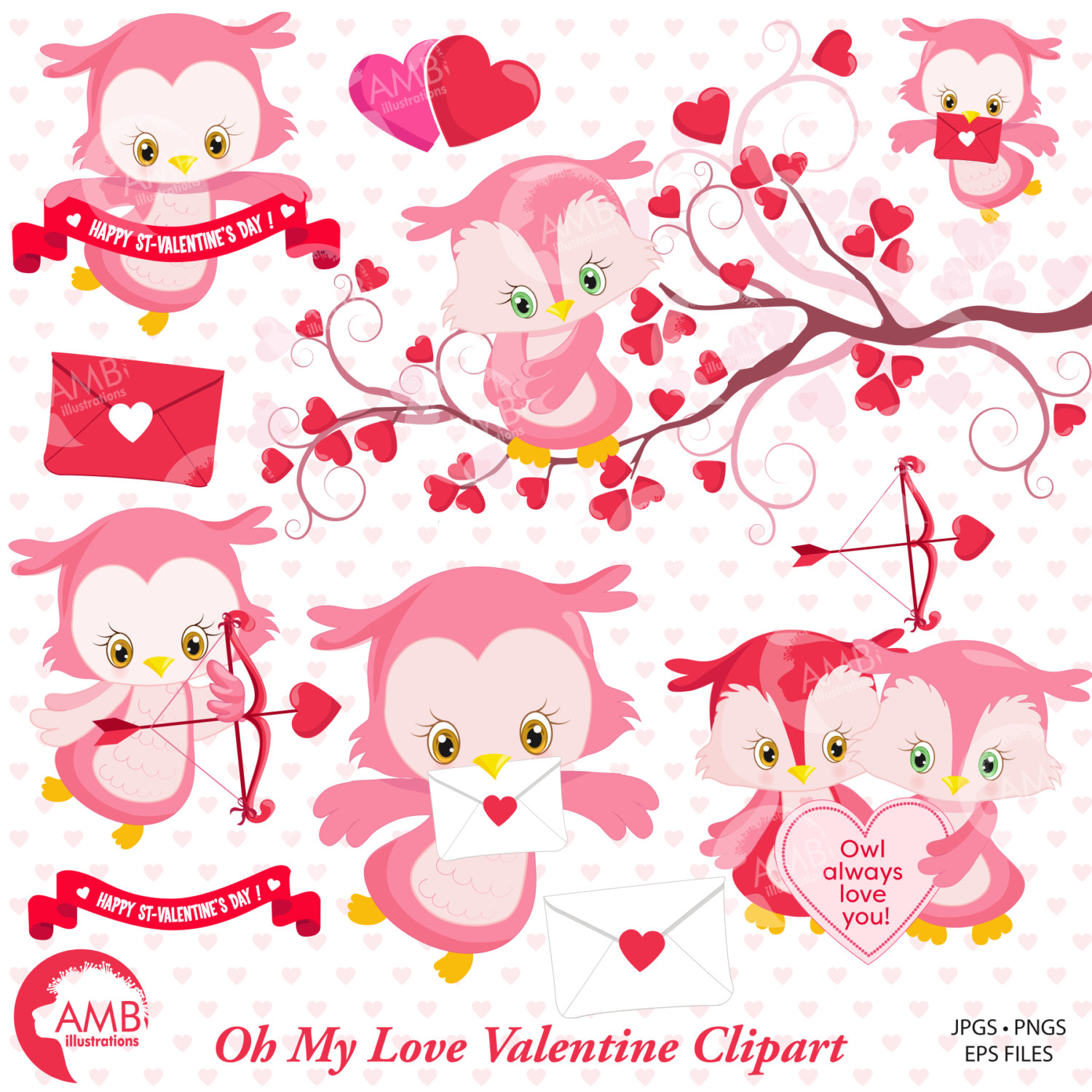 Valentine Clipart, Owl Clipart, Valentine Owls, Heart Clipart, Valentines  Baby Owls, AMB.