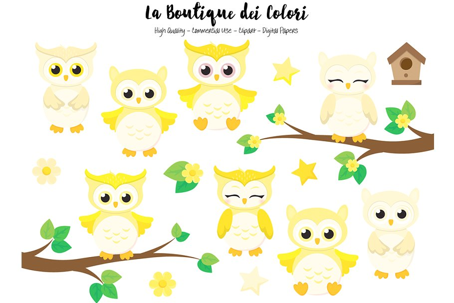 Cute Yellow Baby Owls Clipart.