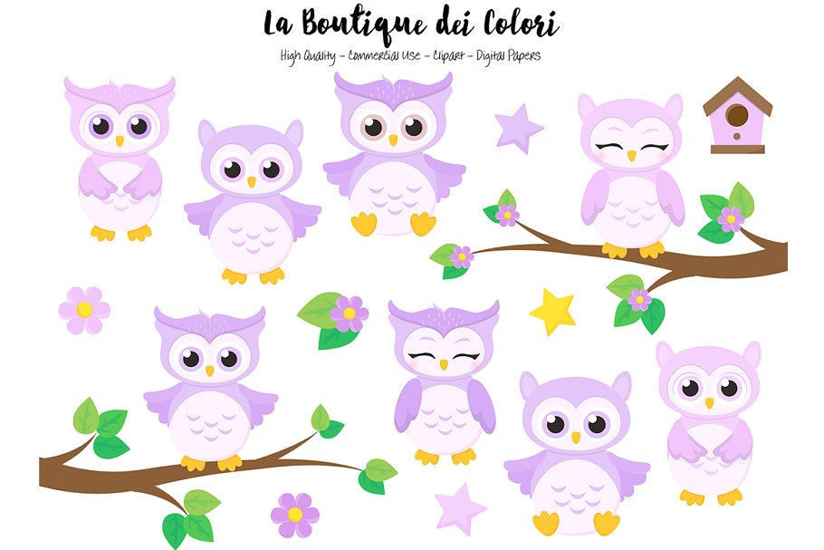 Cute Purple Baby Owls Clipart.